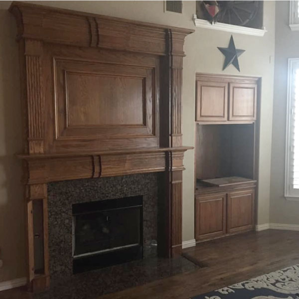 Stained Fireplace before paint